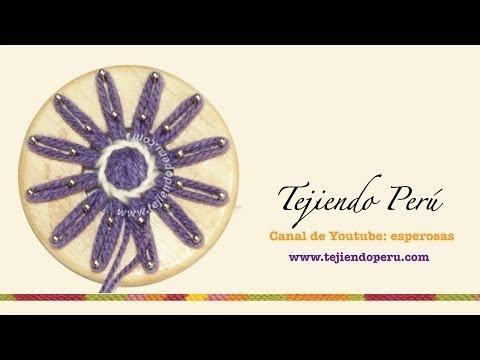 Flores tejidas en telar de reloj (redondo): técnica básica