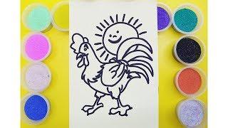 Đồ chơi trẻ em TÔ MÀU TRANH CÁT CON GÀ TRỐNG - Learn Colors Sand Painting Toys