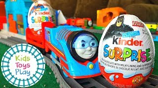 Kinder Surprise Egg Time Trials   Thomas and Friends Trackmaster Turbo Boost Train Races