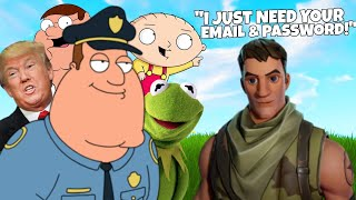 KID SCAMMER wants MY ACCOUNT INFO on Fortnite | Family Guy, Kermit, Donald Trump Voice Trolling