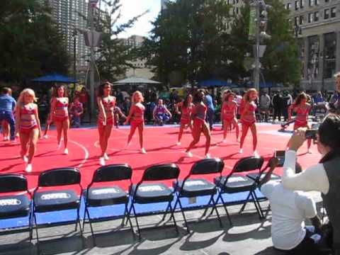 ENTERTAINMENT TEAM OF THE DETROIT PISTONS AT THE  MEET AND GREET DOWNTOWN DETROIT 2014