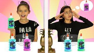 Twin Telepathy Slime Challenge!!  3 Color Slime  Sis vs Sis