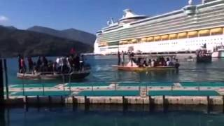 Protest at Labadee As Royal Caribbean Freedom of the sea arrives