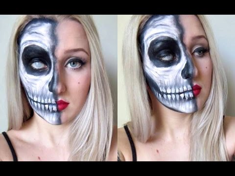 Half Skull Pin Up Makeup Tutorial Halloween YouTube