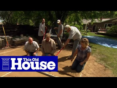 how to build a round patio with a fire pit this old house youtube. Black Bedroom Furniture Sets. Home Design Ideas