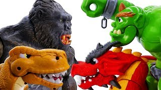 Power Rangers & Marvel Avengers Toys Pretend Play | KING KONG & T-REX vs GIANT & DRAGON