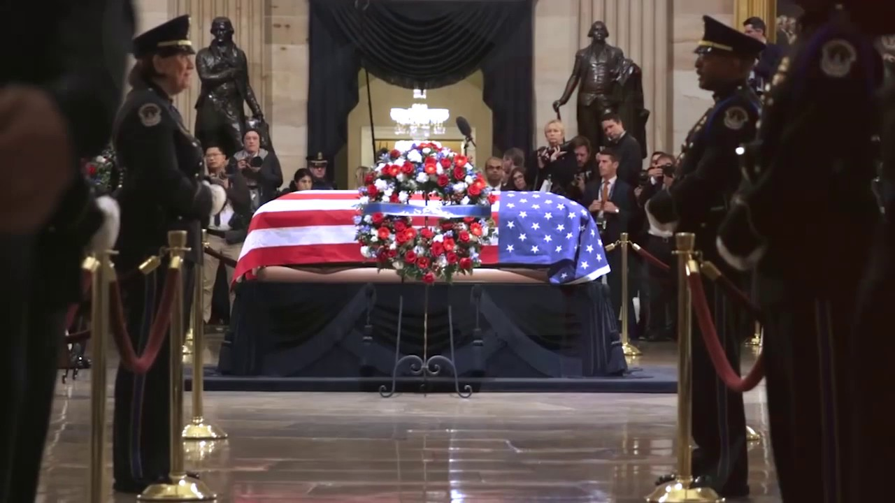 President Trump and the First Lady Pay Their Respects to President George H.W. Bush