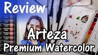 Arteza Premium Watercolor product review and self-portrait painting demo