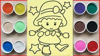 Tô màu tranh cát công chúa búp bê thắt bím - Colored sand painting doll Đồ chơi Chim Xinh