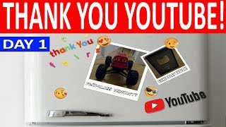 """YOUTUBE SILVER PLAY BUTTON ARRIVED FOR """"HENRY THE RC CAR""""! THANK YOU YOUTUBE! (VLOG DAY 1)"""