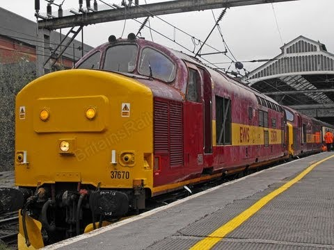 67028 brings in The West Highlander on Friday 10th April, before departing the train and being replaced by a double headed Class 37, at Preston station in Lancashire.