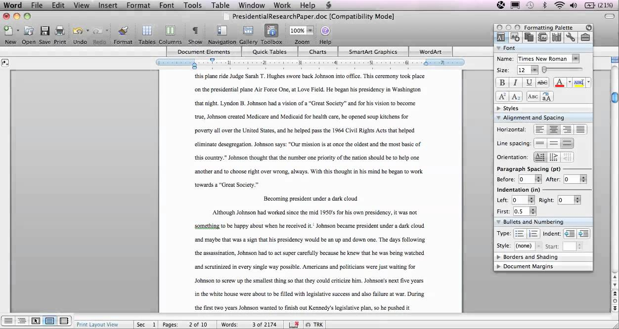 Formatting a research paper in chicago style