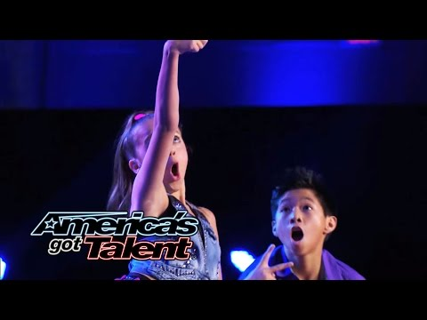 Kaycee & Gabe: Young Hip-hop Dance Duo Performs #selfie Dance - America's Got Talent 2014 video