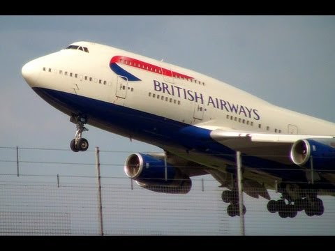 Heavy British Airways 747-400 Takeoff from Heathrow 27L