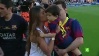 Thiago Messi y Antonela Roccuzzo en el partido de Fc Barcelona vs Getafe
