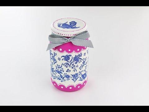 Decoupage jar - Decoupage tutorial - DIY
