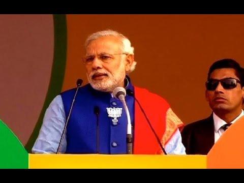 Narendra Modi Speech At Ramlila Maidan Takes A Dig At Kejriwal video