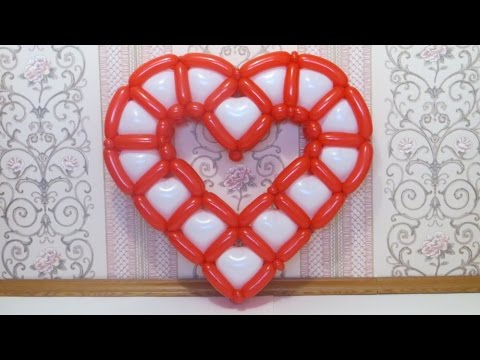 Сердце с сердечками из шаров / Cellure heart of hearts balloons, twisting - YouTube