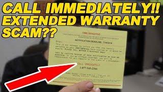 Call Immediately! Extended Warranty Scam?