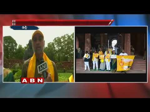 TDP MP's continue protest in Parliament over special status for Andhra Pradesh