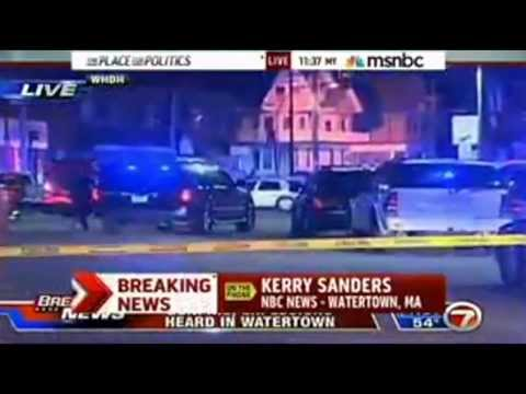 Boston Bombing Suspect Shootout with Police......{Live Footage}