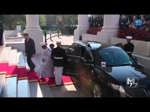 Mali president Ibrahim Boubacar Keïta and spouse Keïta  Maiga  arrive at the White House Diner