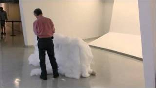 Lee Ufan installing Relatum - Cotton Wall (formerly Structure B), 1969/2011