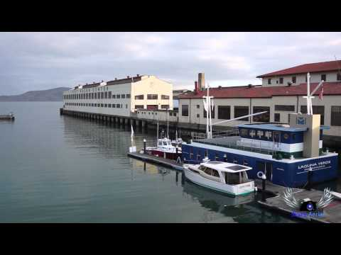 Aerial Views of the San Francisco Water Front and Golden Gate Bridge with Multicopter