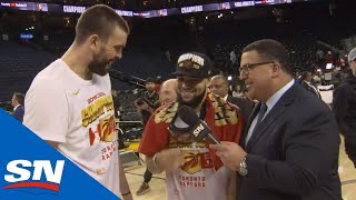 Gasol Discusses Move At Deadline, Dad-Strength VanVleet Crashes Interview