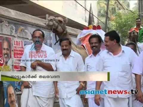 Kerala Election 2014: Road show with camel അവശനിലയിലായ മ്യഗങ്ങളെ ഉപയോഗിച്ച് റോഡ്ഷോ