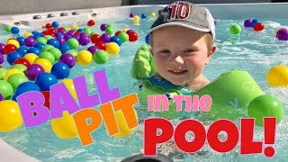 TODDLER DUMPS 150 PLAYHUT BALLS IN THE HOT TUB POOL! FUN BALL PIT IN THE WATER! BEST TODDLER VIDEOS!