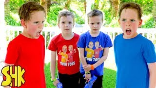 Noah's Twin Attacks! Nerf War with Twin Toys