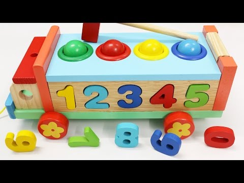 Learn Colors Numbers with Wooden Truck Hammer Balls Toys for Children Toddlers