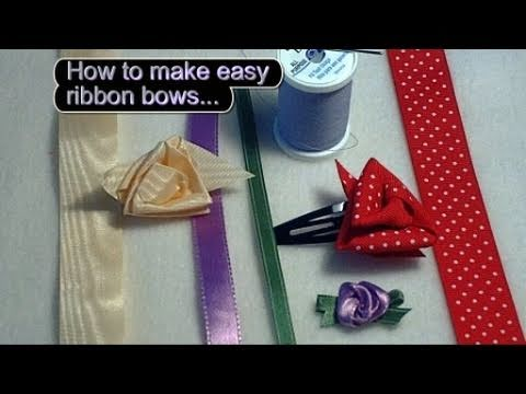 How to make an Easy Ribbon Rose / Flower Day 26
