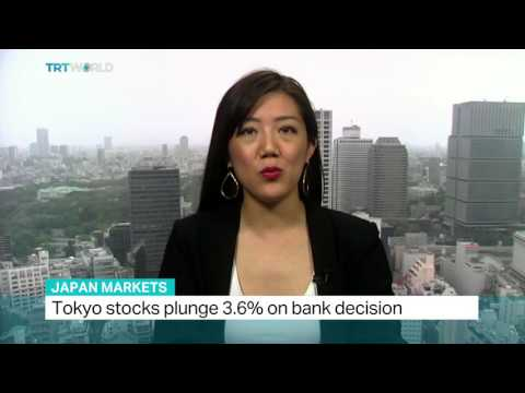 Tokyo stocks plunge 3.6% on bank decision, Mayu Yoshida reports