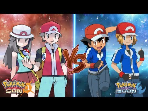 Pokemon Sun and Moon Red and Leaf Vs Ash and Serena (Amourshipping Battle)