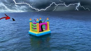 I Tried Crossing The Ocean In A Bounce House - Challenge (Sharks & Thunder Storm)