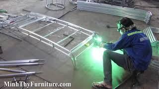 Ra mẫu ghế hồ bơi nhựa giả mây khung nhôm dày 1.2mm tại xưởng cơ khí Minh Thy Furniture