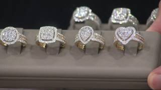 1.00 cttw Cluster Diamond Ring 14K Gold by Affinity on QVC