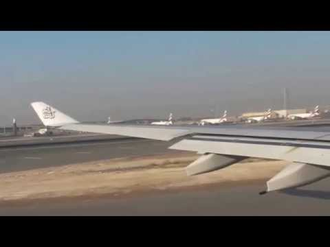 Airbus-A330 Emirates Dubai Take Off - very long Taxi and big traffic on runway