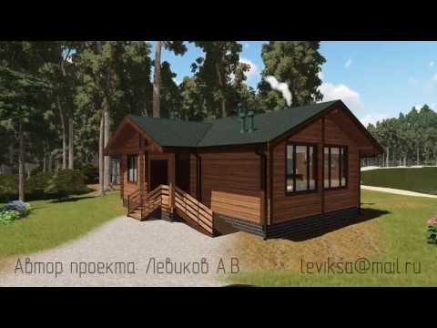 """Проект одноэтажного дома """"Рига"""" с тремя спальнями из бруса"""