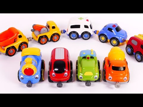Toy Playset for Kids Trains Police Car Fire Truck Ambulance Tow Truck Dump Truck Cement Mixer Learn