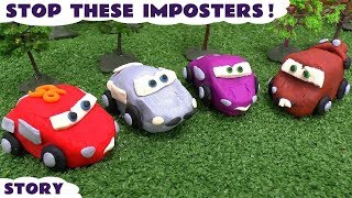 Disney Pixar Cars 2 Play Doh Imposters with McQueen and Mater, Opening to reveal Mystery Characters