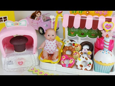 Baby doll and Oven Bakery food shop toys pororo car play 아기인형 부푸러 빵가게 뽀로로 리틀미미 자동차 장난감놀이 - 토이몽 thumbnail