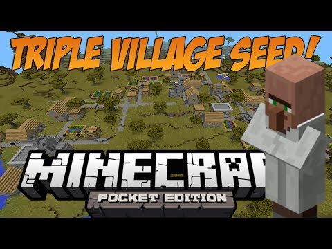 [0.9.5+] Triple Village at spawn + 2 Blacksmiths! - Minecraft: Pocket Edition Seed Showcase