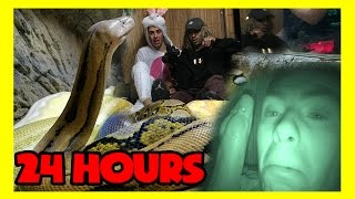 24 HOURS IN A DEADLY SNAKE CAGE ( all night / 24 hr challenge )