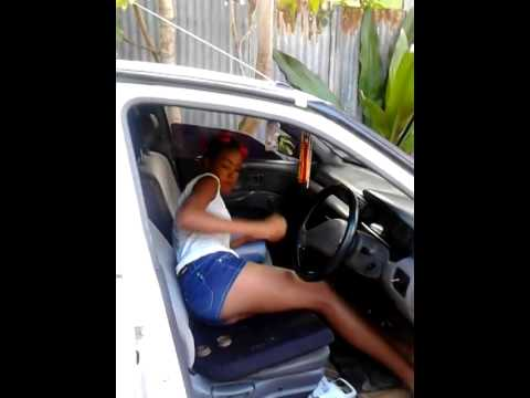 Jamaican girl getting high in Car