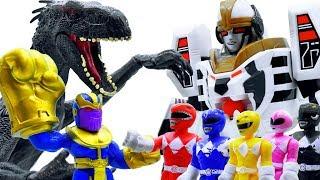 Power Rangers & Marvel Avengers Toys Pretend Play | Thanos summon Dinosaur Attack Superhero