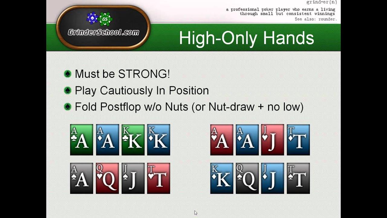 Omaha hi lo poker hands