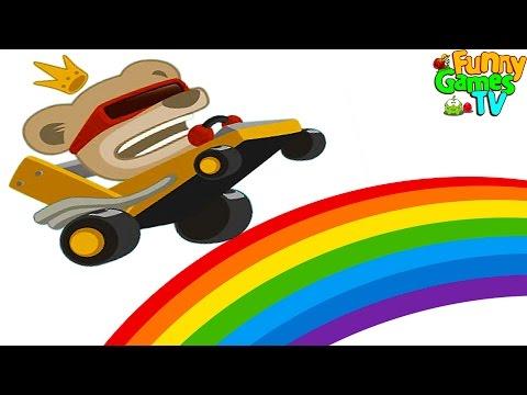 Машинки мультики для детей веселая игра про добрых зверят которые гоняют на тачках выполняя трюки